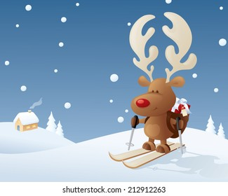 Rudolph makes a last minute delivery on skis.