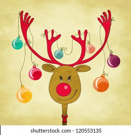 Rudolph the Red Nose Reindeer with Christmas Tree Baubles tied to his antlers - cartoon style greeting