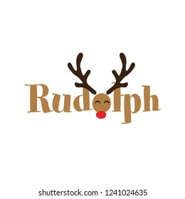 rudolph the red nosed reindeer  - Calligraphy phrase for Christmas. Hand drawn lettering for Xmas greetings cards, invitations. Good for t-shirt, mug, scrap booking, gift, printing press. Holiday quot