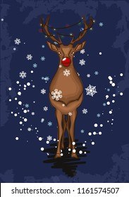 Rudolph red nosed reindeer illustration