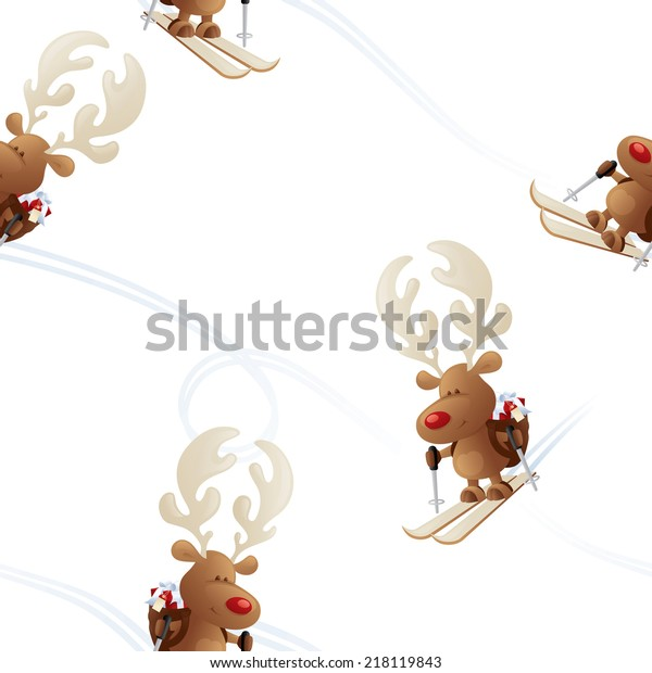 rudolph skiing seamless wallpaper christmas 600w 218119843