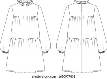 Ruffle collar layer long sleeve dress, front and back view, vector fashion illustration
