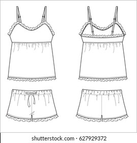 Ruffle tank top and shorts pajama set - technical fashion sketch