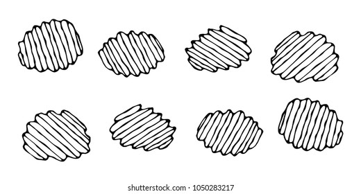 Ruffled or Corrugated Potato Chips. Beer Snack. Figure Knife Cuts of Vegetable. Carved Cooking Ingredient. Fast Food or Street Food Cuisine. Realistic Hand Drawn Illustration. Savoyar Doodle Style.