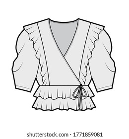 Ruffled wrap blouse technical fashion illustration with peplum hem, elbow volume sleeves. Flat apparel shirt template front, grey color. Women, men and unisex mockup CAD for designer