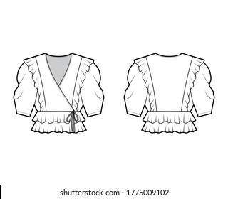 Ruffled wrap blouse technical fashion illustration with peplum hem, elbow volume sleeves. Flat apparel shirt template front, back, white color. Women, men and unisex mockup CAD for designer