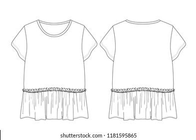 ruffles hem detail girls t shirt template flat