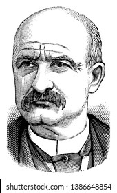 Rufus Blodgett, 1834-1910, he was a United States senator from New Jersey and superintendent of the New York & long branch railroad for 25 years, vintage line drawing or engraving illustration