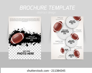 rugby american football back and front flyer template design