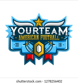 Rugby American Football Sport Logo. Rugby American Football Sport Team. Rugby American Football Logo. Badge Logo. Sport Logo Team. Vector. Abstract Vector Illustration Eps.10
