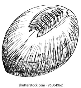 Rugby ball cartoon sketch vector illustration