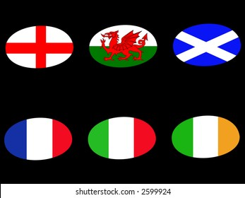 Rugby ball flags england  wales scotland france italy ireland