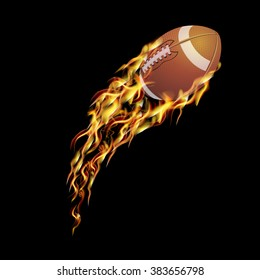 Rugby ball flying at the speed and in fire.