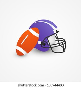 Rugby ball and  helmet