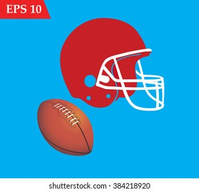 Rugby ball and helmet.American football elements on blue background vector illustration