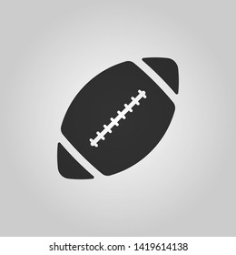Rugby ball icon. Black icon isolated on gray background. Flat style. Vector illustration.