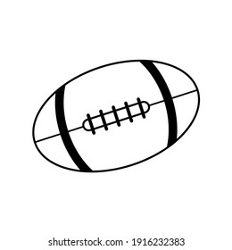 Rugby ball icon design isolated on white background, American football. black and white vector illustration