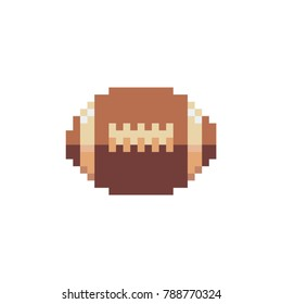 Rugby Ball icon. Pixel art style. American football. Sports Equipment. Sticker design. Isolated vector illustration.