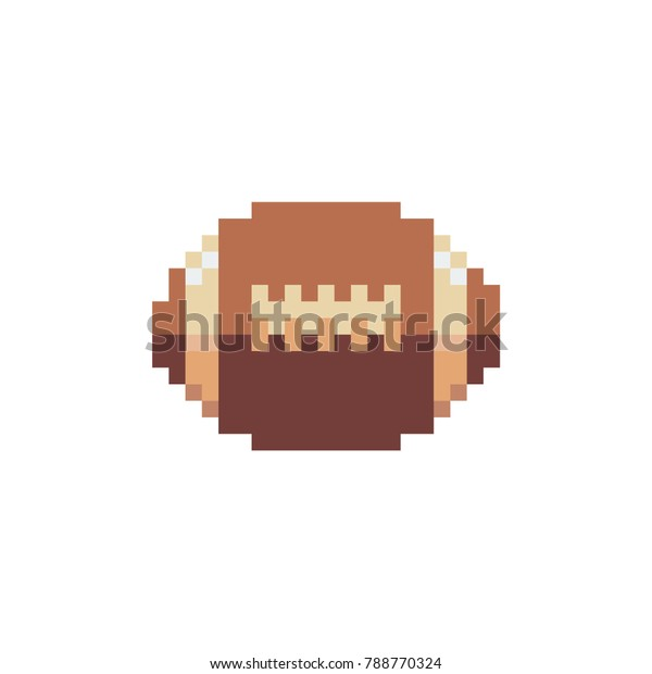 Rugby Ball Icon Pixel Art Style Stock Vector Royalty Free