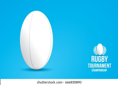 Rugby ball isolated on blue background.