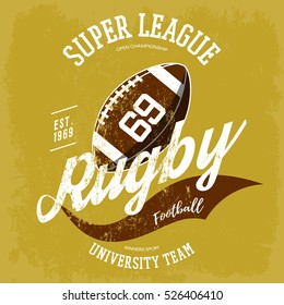 Rugby ball logo for t-shirt branding design. Super league banner or sportswear gear, shirt clothing or uniform cloth. Athletic sport equipment, team logotype, oval ball graphic or clothing branding