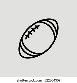 Rugby Ball Outline Vector Icon