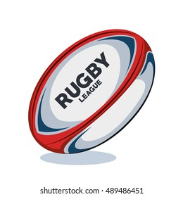 rugby ball red, white and blue design
