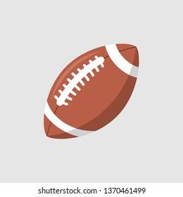 Rugby ball vector icon. Football american league logo isolated oval cartoon ball flat design.