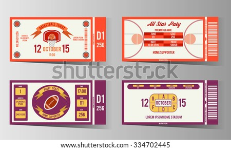 Rugby Basketball Ticket Design Template Card Stock Vector Royalty