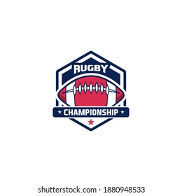 Rugby club emblem. American Football badge shield logo, Rugby ball team game club elements, Vector Logo Illustration Fit to championship or team
