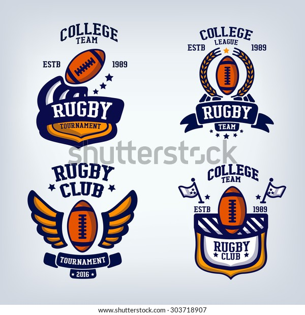 Rugby Club Emblem College League Logo Stock Vector (Royalty