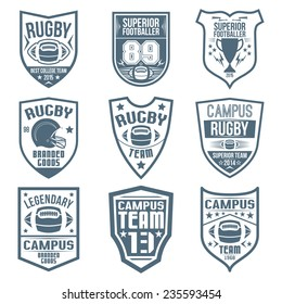 Rugby emblems in flat style