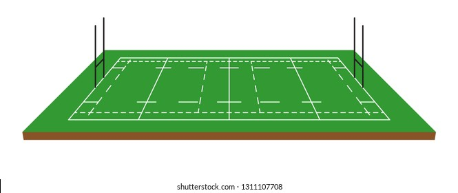 Rugby field isometric vector illustration on white