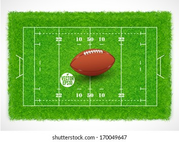 Rugby field with realistic grass textured, Vector illustration