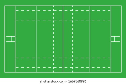Rugby field . Top view with correct proportion