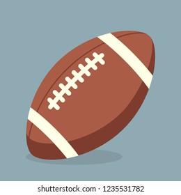 Rugby- oder Fußball-Ball mit weißen Streifen und Stichen. Eine einfache Vektorillustration mit Schatten und Hintergrund.