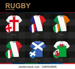 Rugby Jerseys with flag of Rugby Championship participants. Vector illustration.