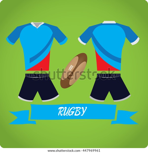 Rugby objects, Sport uniform, Vector illustration