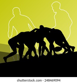Rugby player active young men sport silhouettes abstract background vector illustration