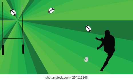 rugby player with background - vector