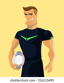Rugby player holding a rugby ball. Vector flat illustration