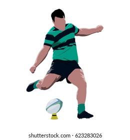 Rugby player kicking ball, abstract  vector illustration. Team sport