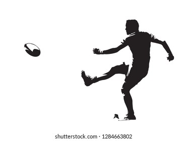 Rugby player kicking ball, side view, isolated vector silhouette