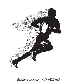 Rugby player running with ball, abstract grungy vector silhouette