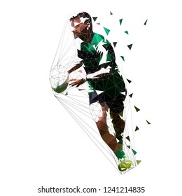 Rugby player running with ball, isolated low polygonal vector illustration
