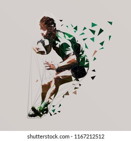 Rugby player running with ball, low poly vector illustration. Team sport athlete