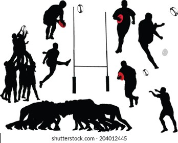 rugby players collection - vector