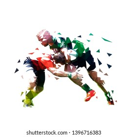 Rugby players, isolated low polygonal vector illustration. Two rugby players are running towards each other