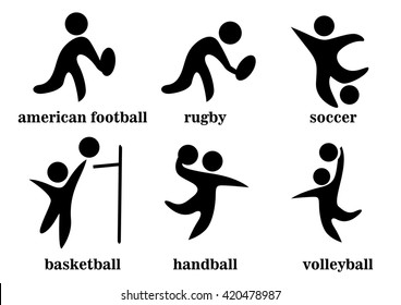 rugby, soccer, handball, voleyball, american football, basketball, team sport icons