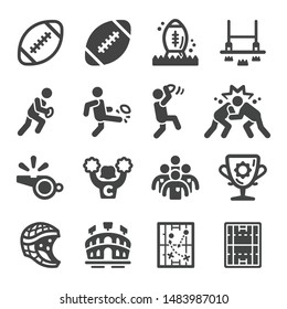 rugby sport and recreation icon set,vector and illustration